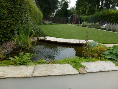 Pond with bridge edge