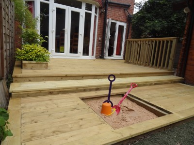 Deck with sandpit