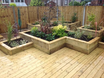 Raised beds and deck